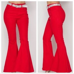 """Red Bell Bottom Jeans / S-XL / 31.5-32"""" Inseam"""